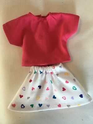 Fits American Girl Wellie Wishers Doll Clothes Outfit Heart Skirt Pink Top New