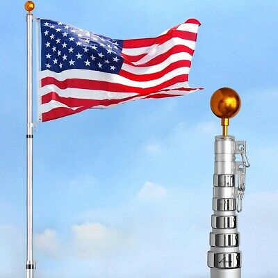 30 Ft Aluminum Telescoping Flag Pole with American Flag Gold Ball Finial PVC Sle