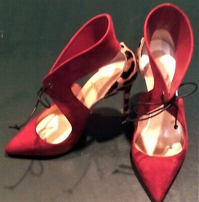 b7db42a8a6a CHRISTIAN LOUBOUTIN FERME Rouge Rougissime Tie Front Heels-Nw/oB-Sz ...