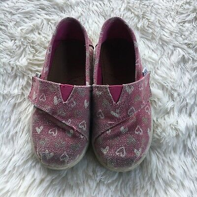 a8f011a2f50 Toms Toddler Girls Sz 9 Pink Glitter Sparkle Hearts Slip On FREE SHIP