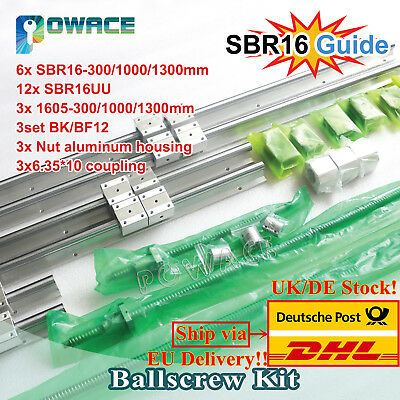 CNC Ballscrew RM1605/SFU1605-300/1000/1300mm&SBR16 Linear Guide&BK/BF12 End【IT】
