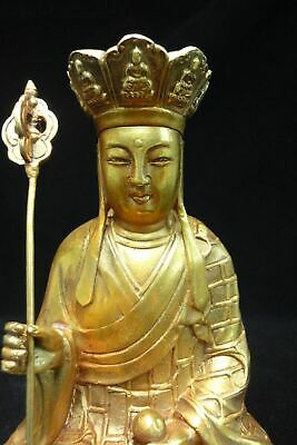 """Old Chinese Bronze """"the King of Inferno"""" Buddha Statue Marked """"QianLong"""""""