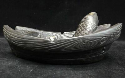 Very Fine Old Chinese Hand Carving Boat Fish Ink Stone Ink Slab Mark