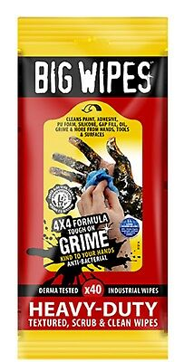 Big Wipes RED TOP 4x4 Heavy duty Hand Cleaners Tub of 40 clean wipes - 2424 0000