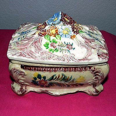 Antique Asian Japan Footed Vanity Powder Trinket Box Hand Painted Porcelain