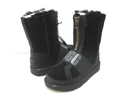 586a6dfceea UGG CONNESS LOGO Suede Leather Waterproof Wool Black Women's Boots ...