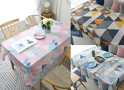 Triangle Print Waterproof Polyester Dining Table Cloth Cover Backdrop