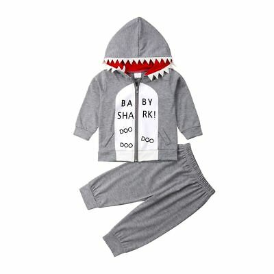 Shark Zipper Hoodie Top Pants Toddler Kids Baby Boys Clothes Bodysuit Outfit Set