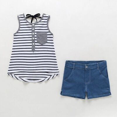 Long Sleeved Black White Striped Shirt Jeans Fashion Girls Casual Outfit Clothes