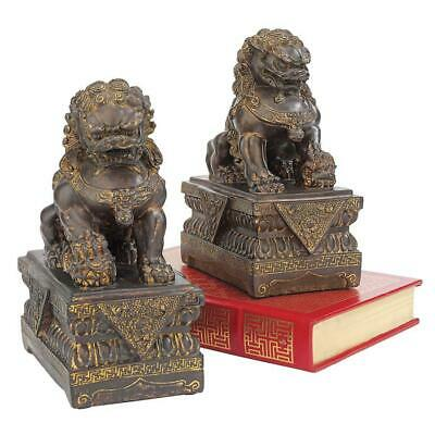 """9""""H Tall Chinese Lion Foo Dog Bronze Statue"""
