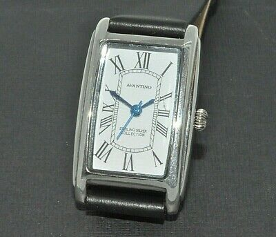 Real silver Avantino rectangular leather strap watch