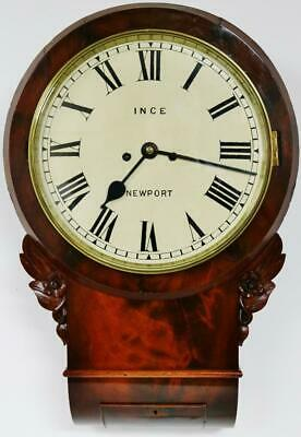 Rare Antique Welsh 8 Day Flame Mahogany Twin Fusee Striking Drop Dial Wall Clock