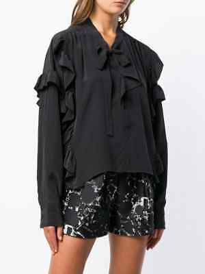 f7080f5ad69 NWT ISABEL MARANT Libel Tie Neck Ruffled Long Sleeve Silk Blouse Top Black  36 FR