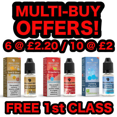 Diamond Mist E Liquid Vape Juice,  All Strengths & Flavours + Nic Salt, 10ml