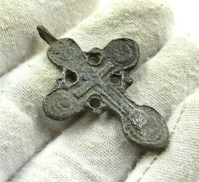 Authentic Late Medieval Era Bronze Cross Pendant - Wearable - J294
