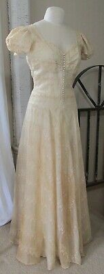 Vintage 1940 A CHAPMAN Original Buttercream Floral Embroidery Bias Bridal Dress
