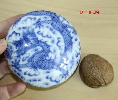 D=8CM CHINESE porcelain INK PASTE BOX BLUE WHITE DRAGON 20 th century