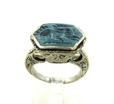Authentic Post Medieval Silver Ring W/ Intaglio Warrior - Wearable - J302