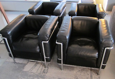 Original Cassina Le Corbusier Lc2 Sessel In Leder Schwarz Chrom Lc 2