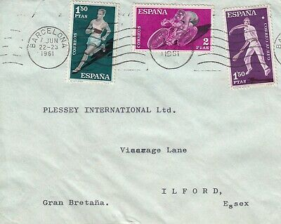 HH4499 Barcelona June 1961 cover UK; 3 sports stamps cycling, running pelota?