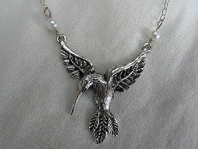 Antique Silver-Plated Large Bird Necklace