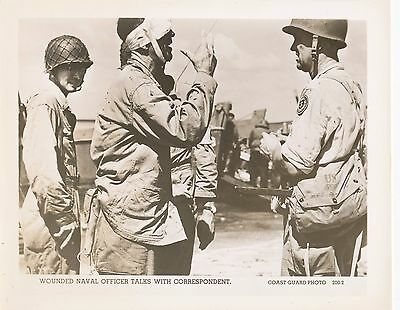 1940s WWII USCG US Coast Guard Photo wounded officer talks with correspondent