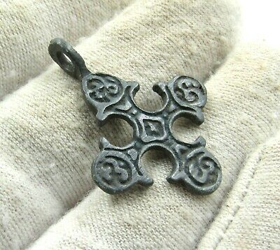 Authentic Medieval Viking Bronze Cross Pendant W/ Runic - Wearable - J327