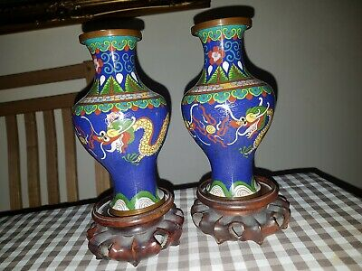 PAIR VINTAGE BRASS COPPER CLOISONNE VASES AND STANDS.17cm high