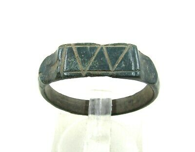 Authentic Ancient Roman Bronze Ring W/ And M Or W Motif - Wearable -  J331