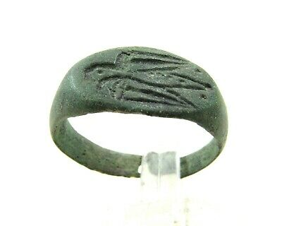 Authentic Ancient Roman Legionary Bronze Ring W/ Eagle - Wearable  - J332