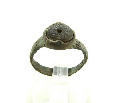Authentic Late Medieval Tudor Bronze Ring W/ Stone In Bezel - Wearable - J333