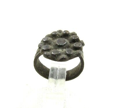 Authentic Medieval Tudor Bronze Ring W/ Crown Shaped Bezel - Wearable - J334