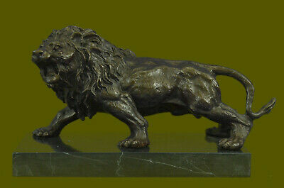 Lion Signed Statue By Bronze Barye Figurine Sculpture Hand Made Masterpiece Sale