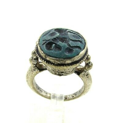 Authentic Post Medieval Silver Ring Intaglio W/ Beast - Wearable - J335
