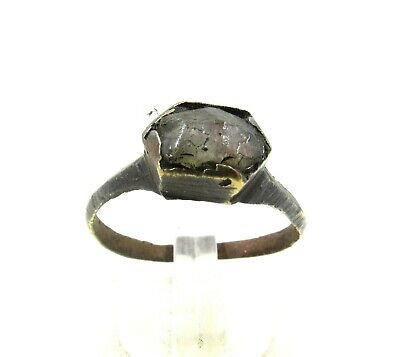Authentic Late Medieval Tudor Bronze Ring W/ Stone In Bezel - Wearable - J337