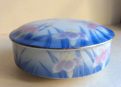 Vintage Japanes Characters Signed On Bottom Porcelain Painted Trinket Round Box