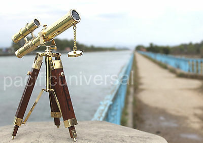 Solid Brass Double Barrel Nautical Telescope With Wooden Tripod Maritime Decor.