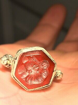 Sassanian Silvered Ring With Stone Intaglio