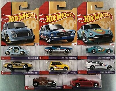 2019 Hot Wheels New  Target Retro Throwback ( Set Of 8 ) See Pics Mustang Datsun