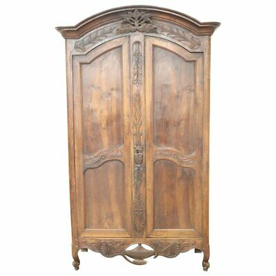 18th Century French antique Louis XV Walnut Carved Wardrobe or Armoire