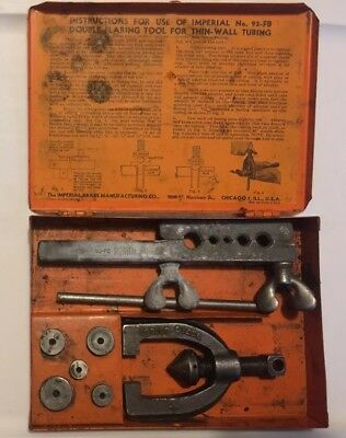 Vintage Imperial Double Flaring Tool No. 93-FB/Orange Metal Storage Box Chicago