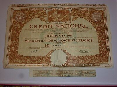 Obligation Credit National Emprunt 1919 - 500 Francs