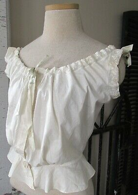 Antique Edwardian White Cotton Embroidery Pouter Pigeon Silk Ties Corset Cover