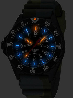 Men's KHS Tactical Watches with H3 Tritium Lighting Date green Rubber Band