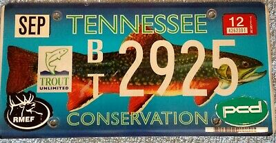 Tennessee Conservation Rare Trout Wildlife Specialty License Plate  Pcd Sticker