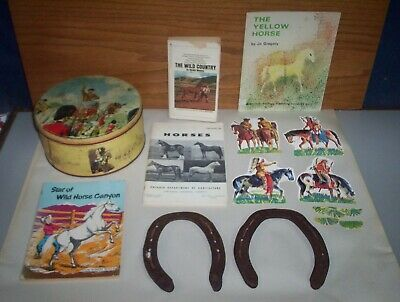 Ontario Horses 1963 Book + Vintage Tin & 2 Shoes & Equine Collectables Lot