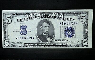 1934-D $5 Silver Certificate ✪ Au Almost Uncirculated ✪ Star Note * ◢Trusted◣