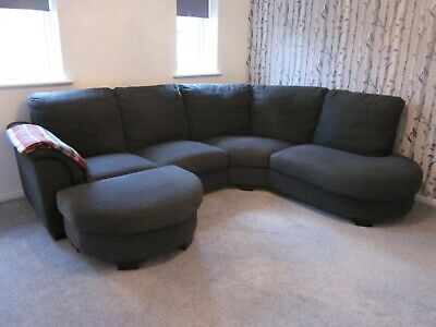 IKEA TIDAFORS GREY CORNER SOFA with MATCHING FOOTSTOOL BUYER COLLECTS