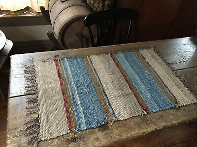 Antique Large Candle Mat Table Rug Mat Runner Blue Brown Country AAFA Textile