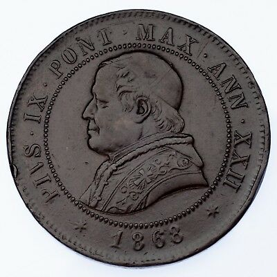 1868-R Italy Papal States 4 Soldi Extra Fine Condition KM #1374